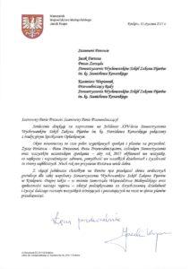 List Marszałka Województwa Małopolskiego Jacka Krupy